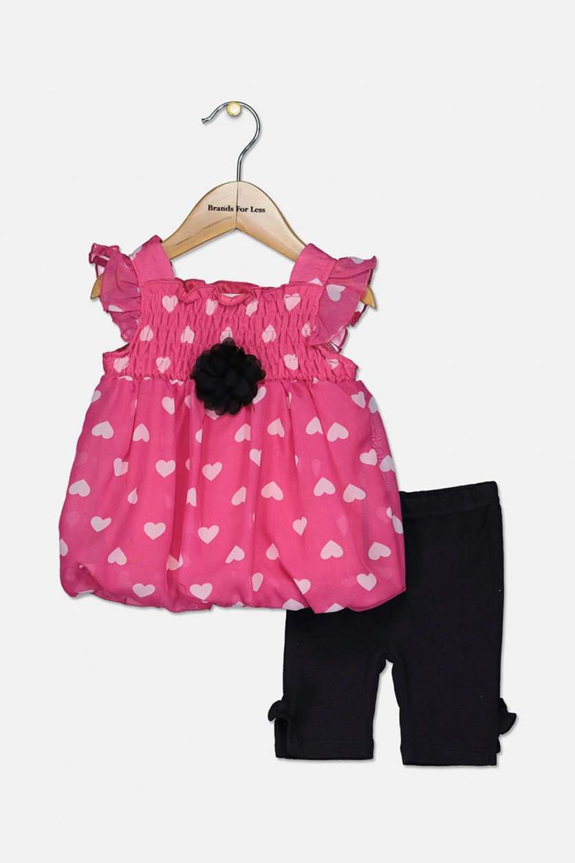 Toddler's Heart Printed Set, Black/Fuchsia
