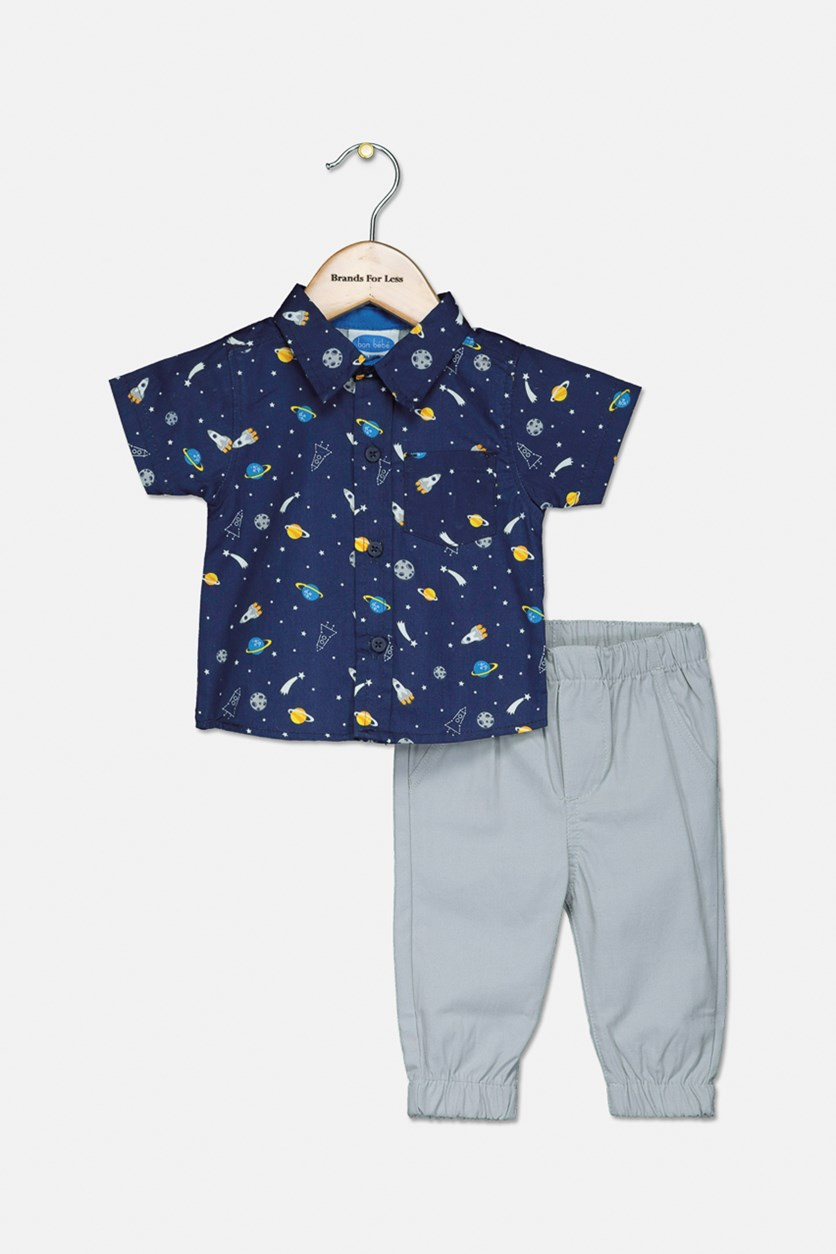 Toddlers Allover Print 2 Pcs Set Polo And Pants, Navy/Grey
