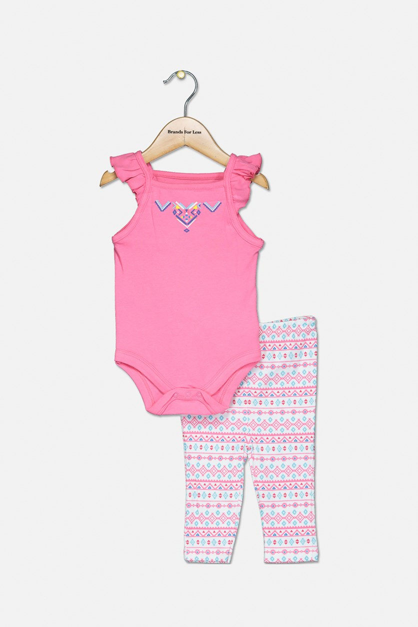 Toddler Girls Bodysuit & Pants Set, Pink/White