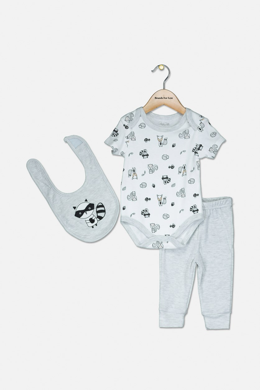 Toddlers 3-pcs Printed Bodysuits & Leggings, Grey