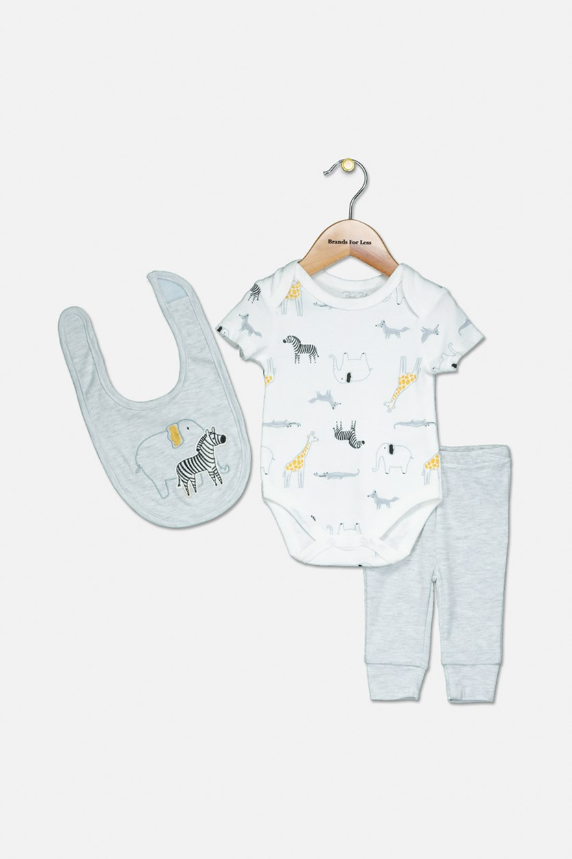 Toddler Boy's Bodysuit Pants Set, Grey/White