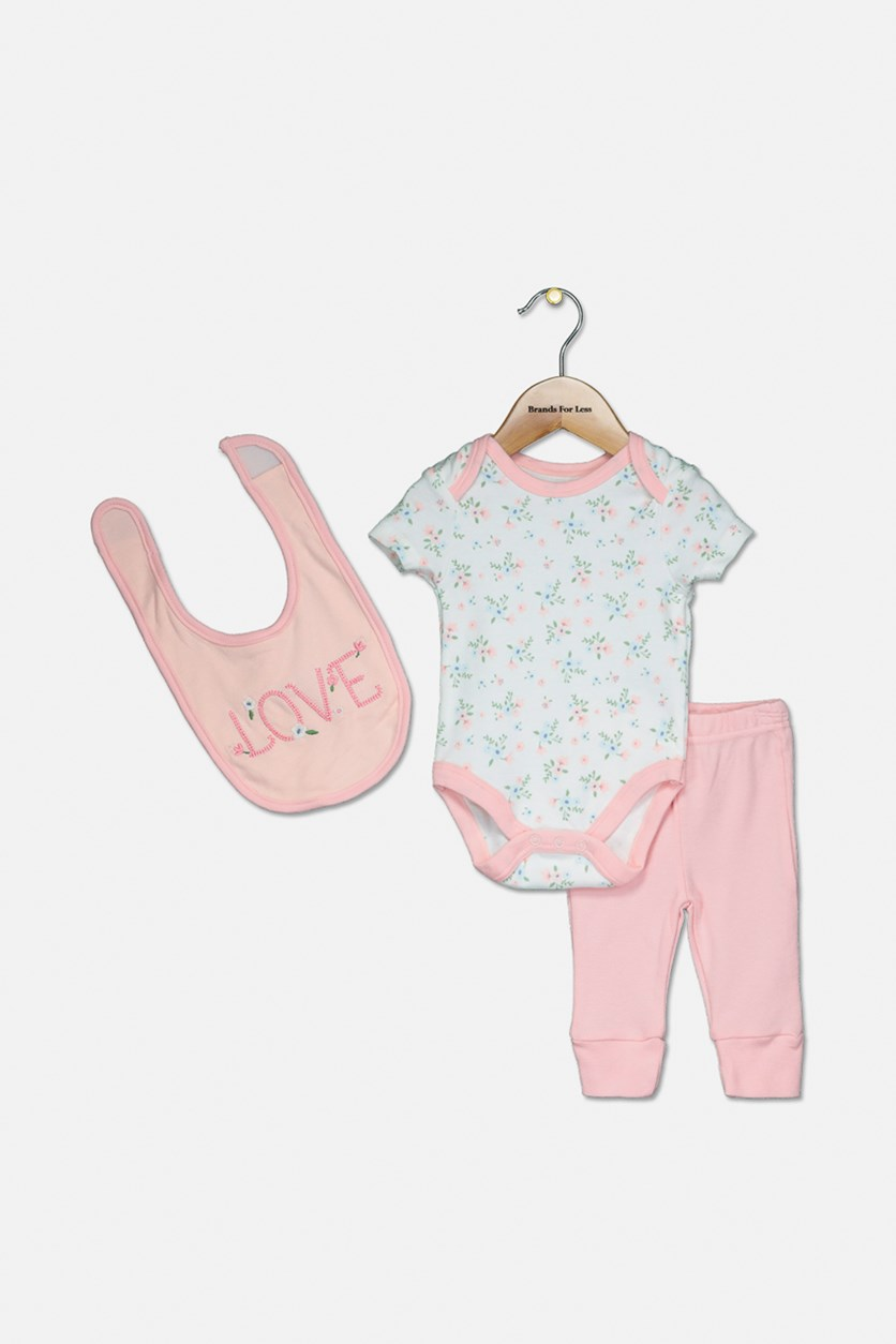 Toddler Girl's Bodysuit Set, Peach/White