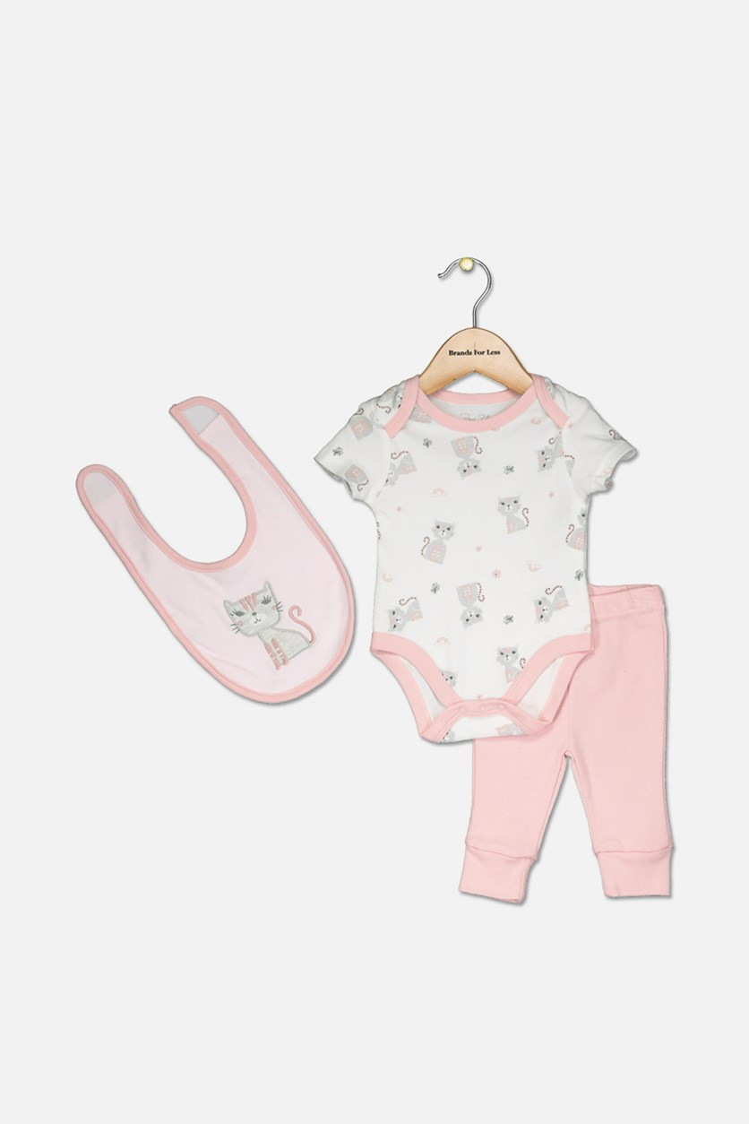 Toddlers 3-pcs Bodysuits with Bib & Leggings Set, Pink/ White