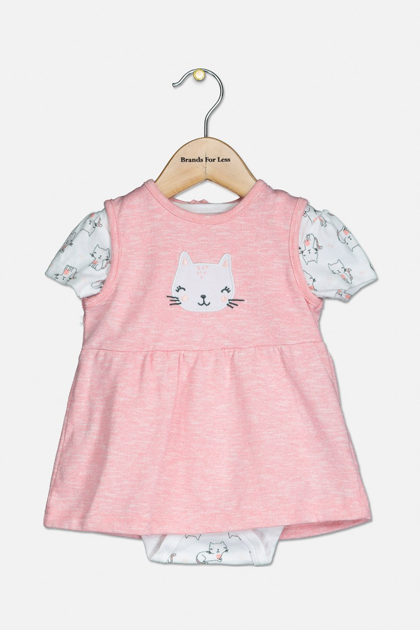 Baby's Bodysuit And Dress Set, Pink/White