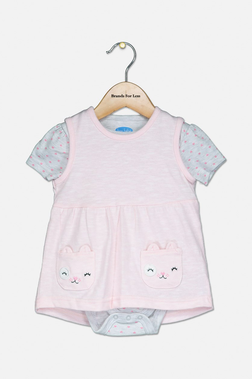 Girl's Bodysuit And Dress Set, Pink/Grey