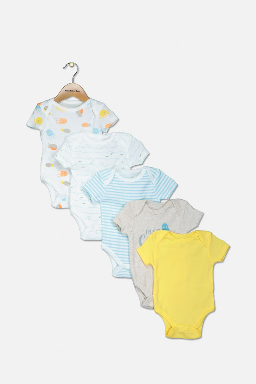 Toddler Girls 5 Pack Bodysuit, Yellow/White/Beige/Turquoise