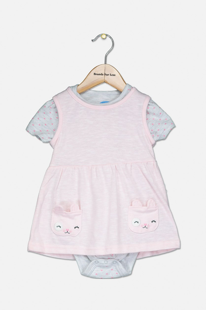 Toddler's Jumpsuit & Dress Set, Pink/Grey