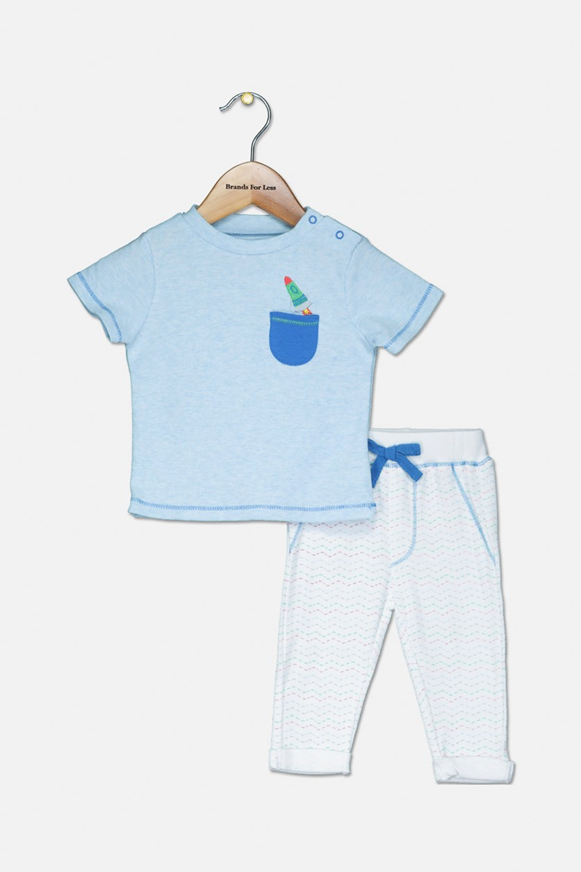 Toddler Boys Tee and Pants, Light Blue/White