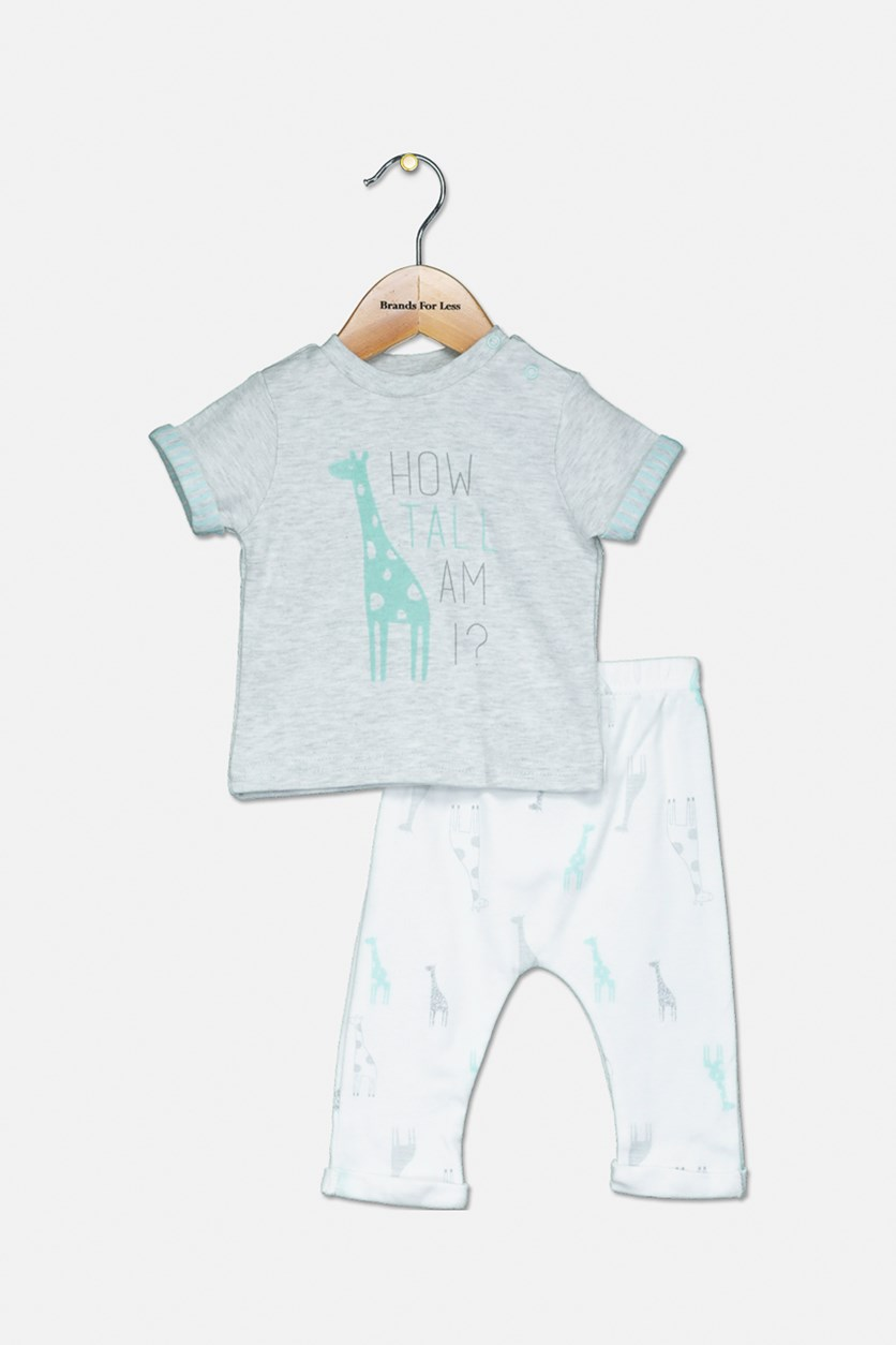 Toddler Boys T Shirt & Pants Set, Grey/White