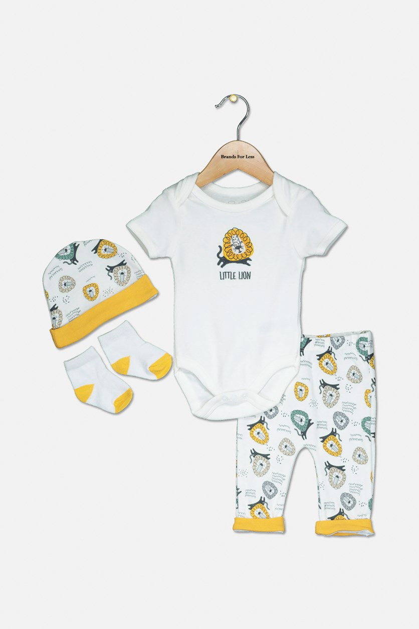 Toddler's Little Lion Bodysuit, Pants, Cap & Socks, Off White/Gold