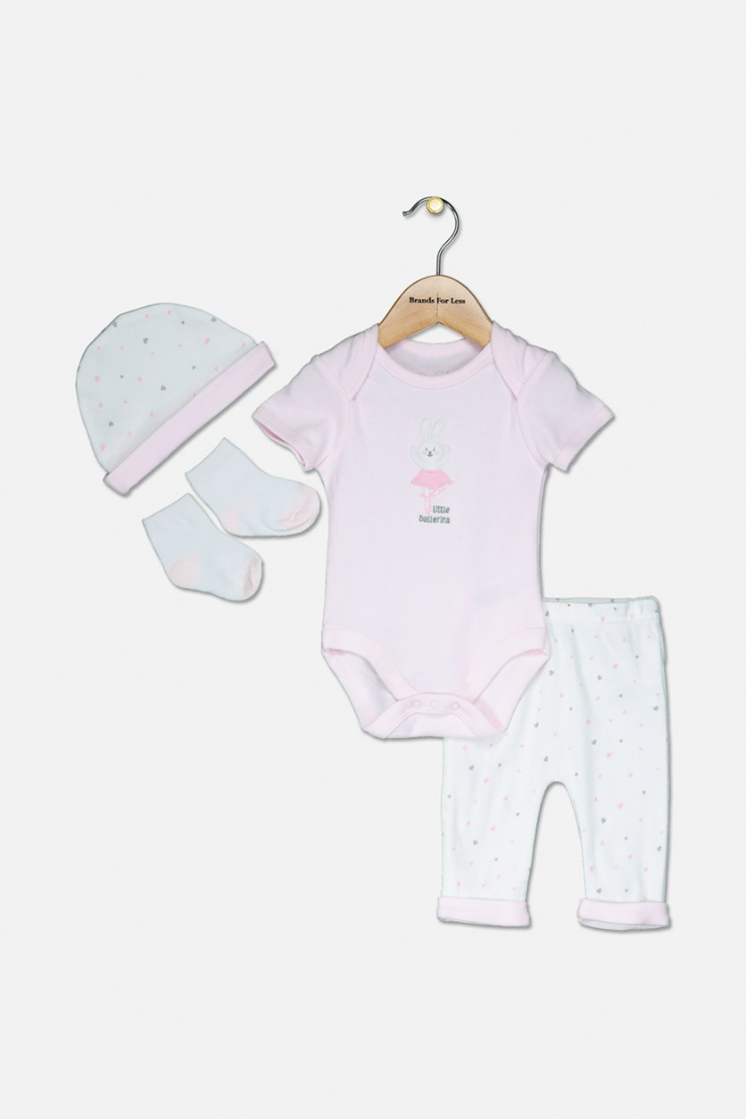 Toddler Girl's Bodysuit Pants Hat & Socks Set, Pink/White