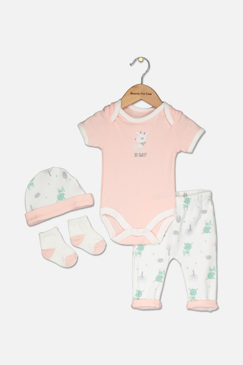Baby Girls 4 Piece Bodysuit,Pants,Cap & Socks, Light Pink/White