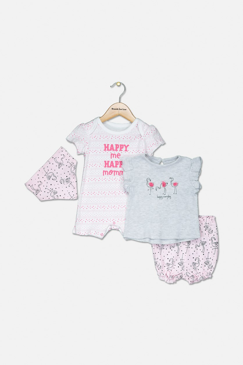 Girl's 4 Piece Bodysuit and Bib Set, Pink Combo
