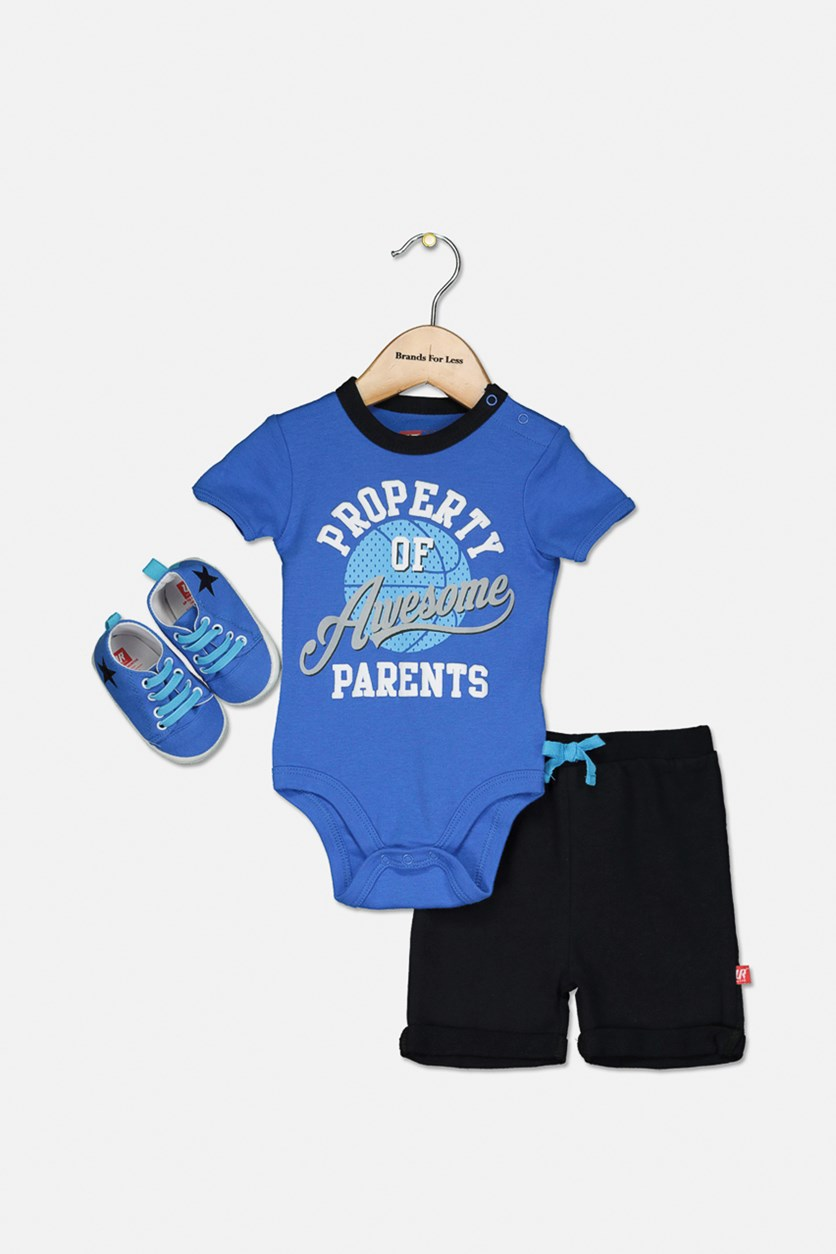 Toddlers 3-pcs Tops & Short with Shoes Set, Blue