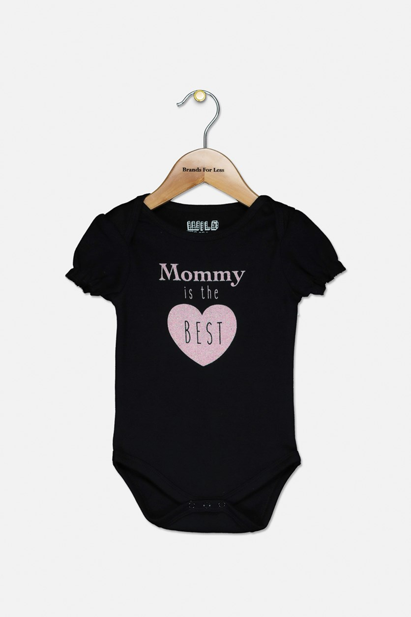 Baby Girl's Graphic Printed Bodysuit, Black/Pink