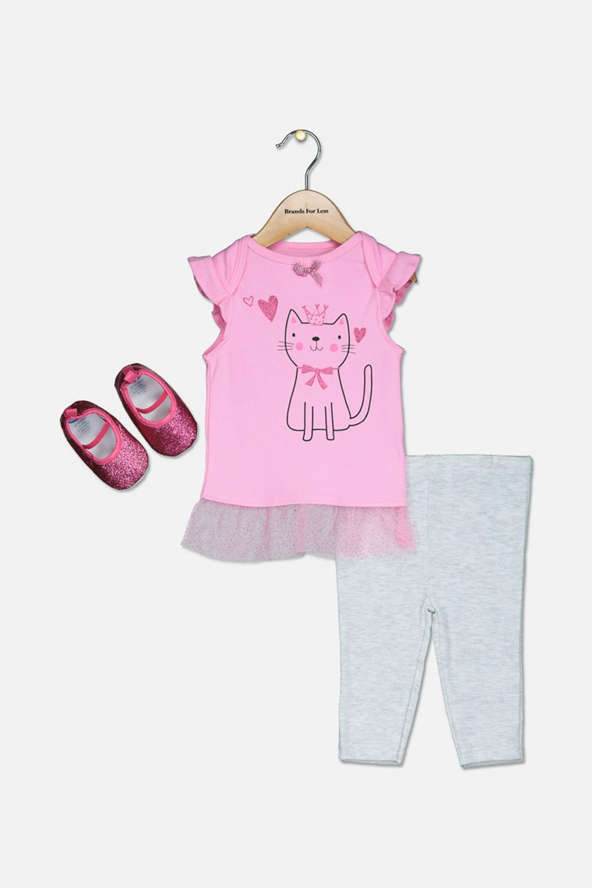 Toddler Girls 3-Pc Top, Leggings & Shoes Set, Fuschia