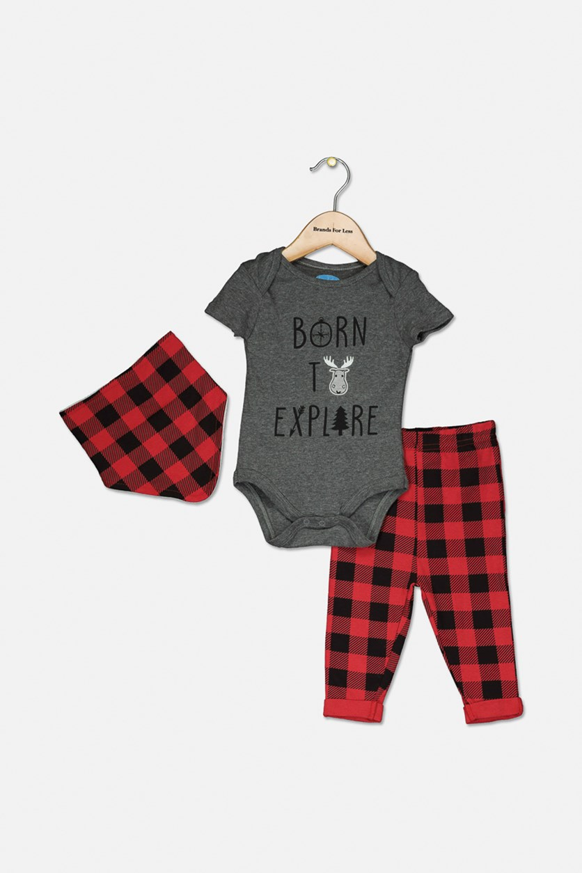Toddler's Set Of 3 Romper And Pants, Gray/Red