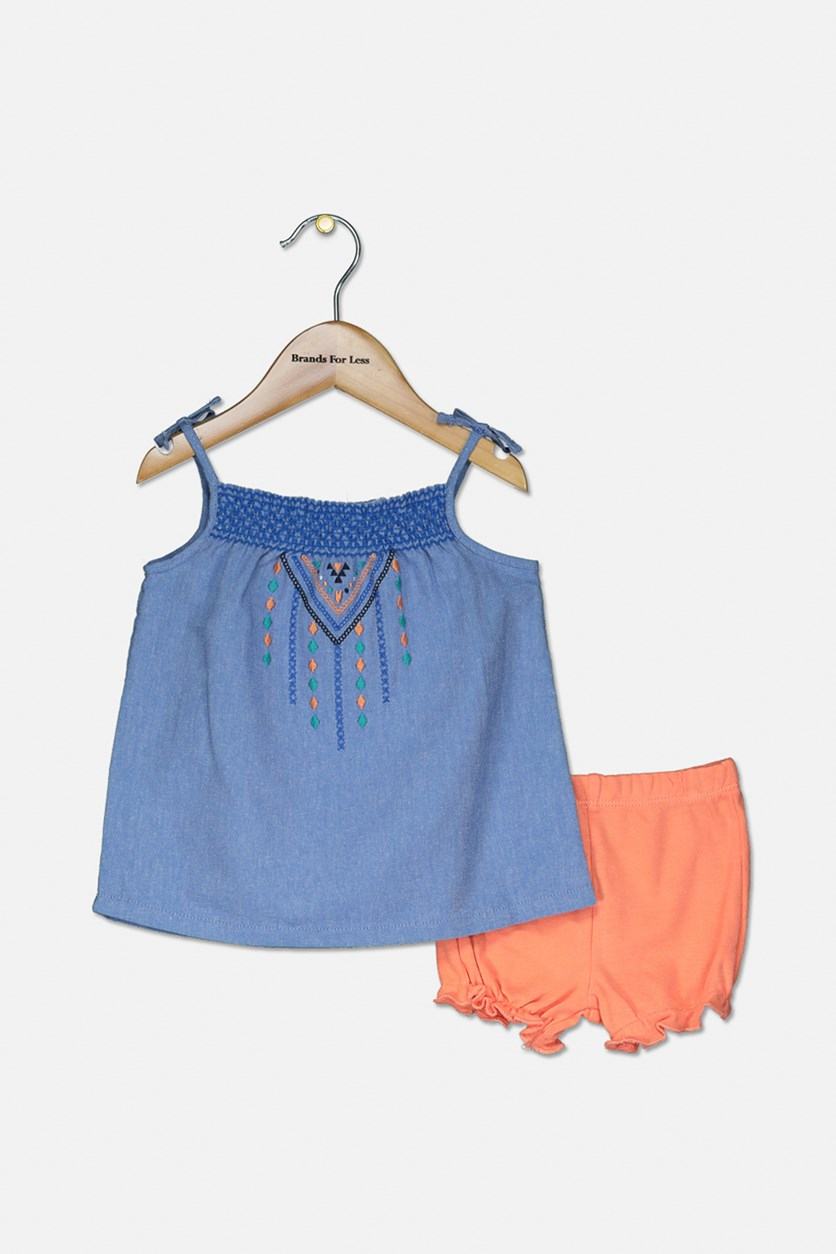 Toddler Girls 2-Pc Top & Balloon Short Set, Blue/Orange