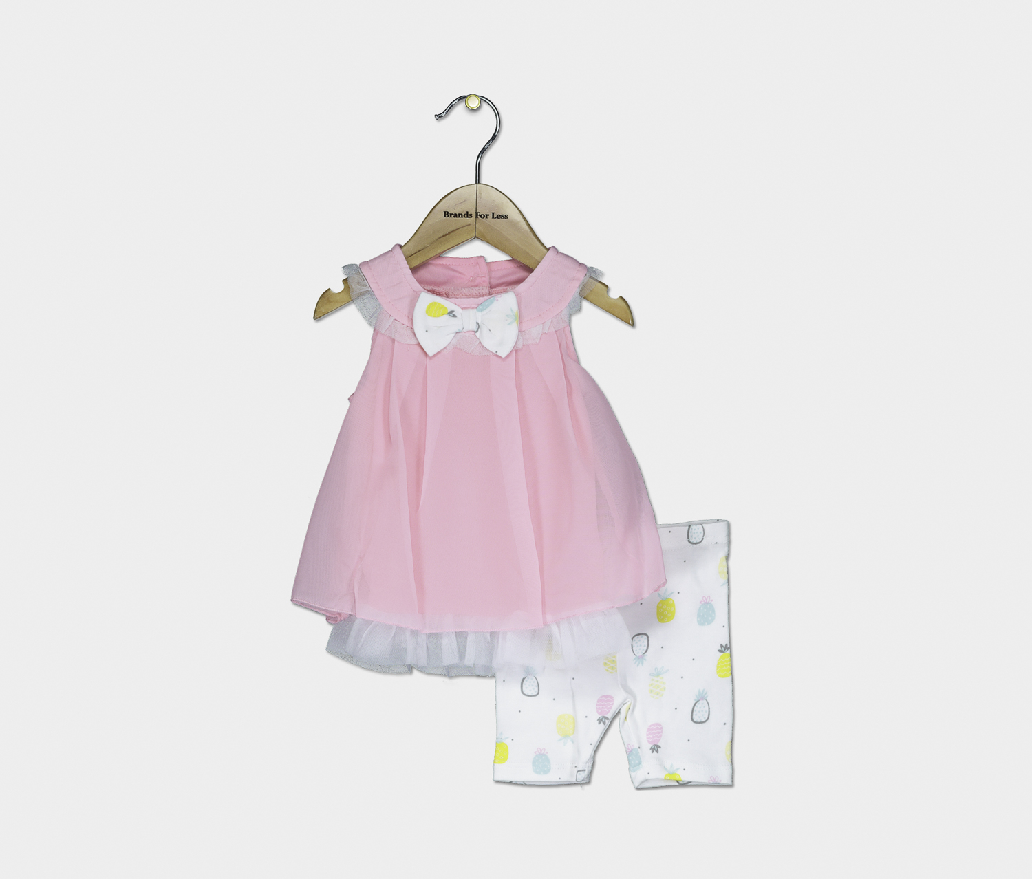 Baby Top And Bottom Set, Pink/White