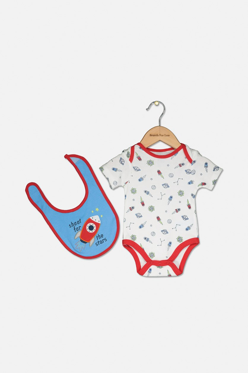 Toddlers 2pc Bodysuit & Bib Set, Blue/ White/Red