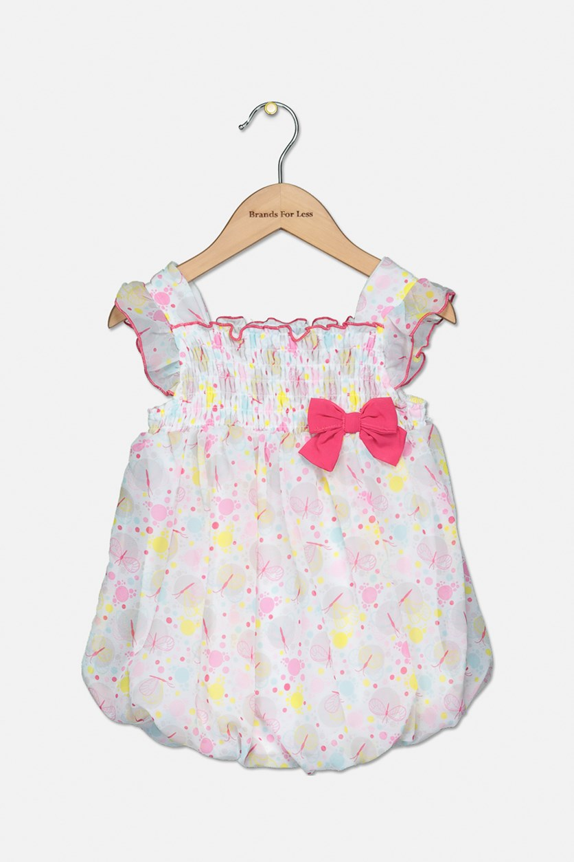 Baby Girls Allover Print Rompers, Pink/Yellow/White