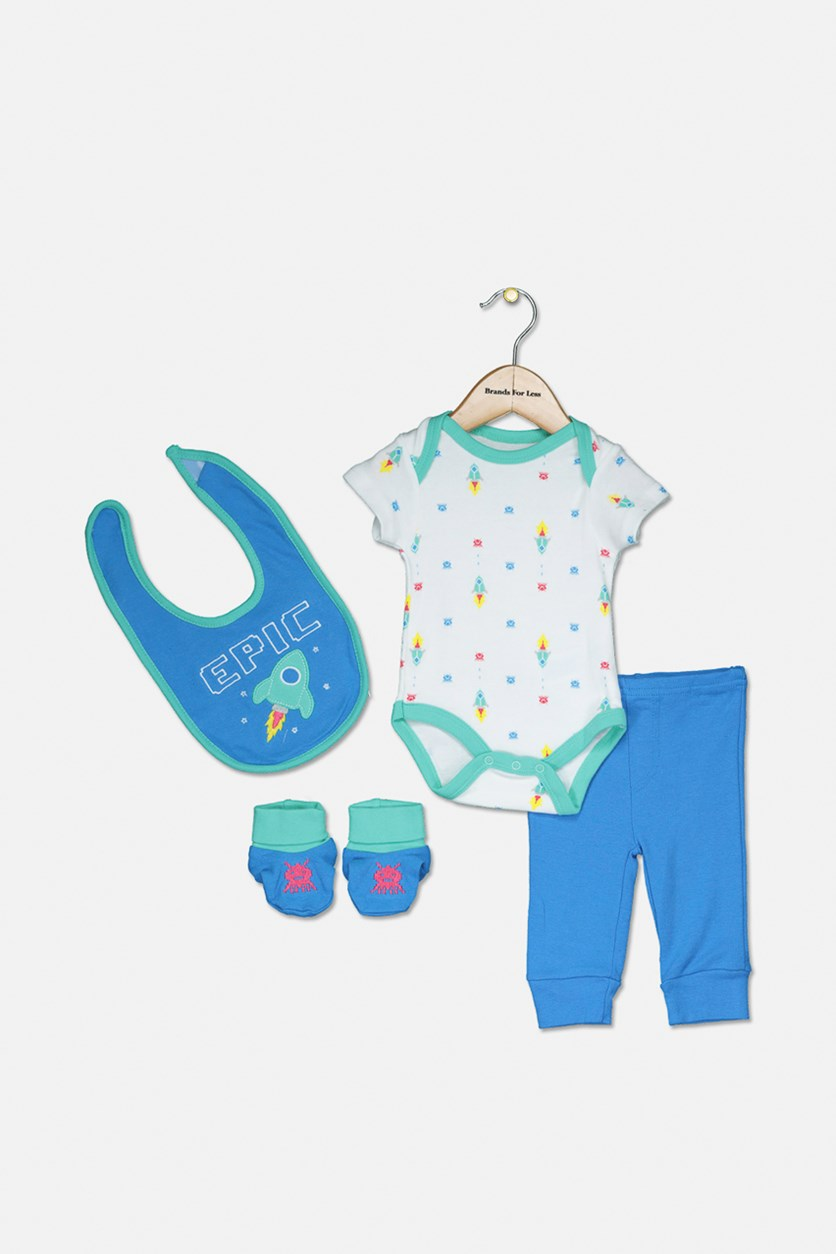Baby Boys 4 Piece Set Bib, Bodysuit, Pant and Booties, White Blue