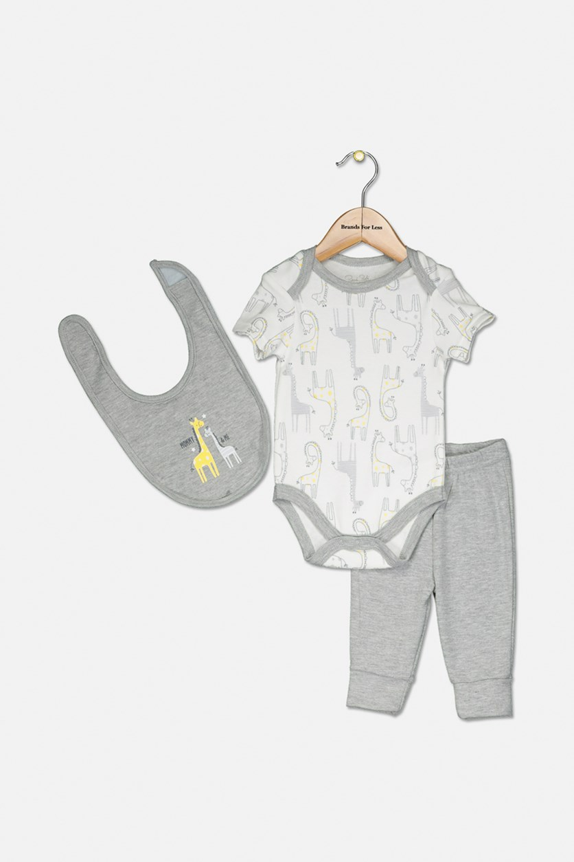 Toddler Girl's 3 Set, Grey/White