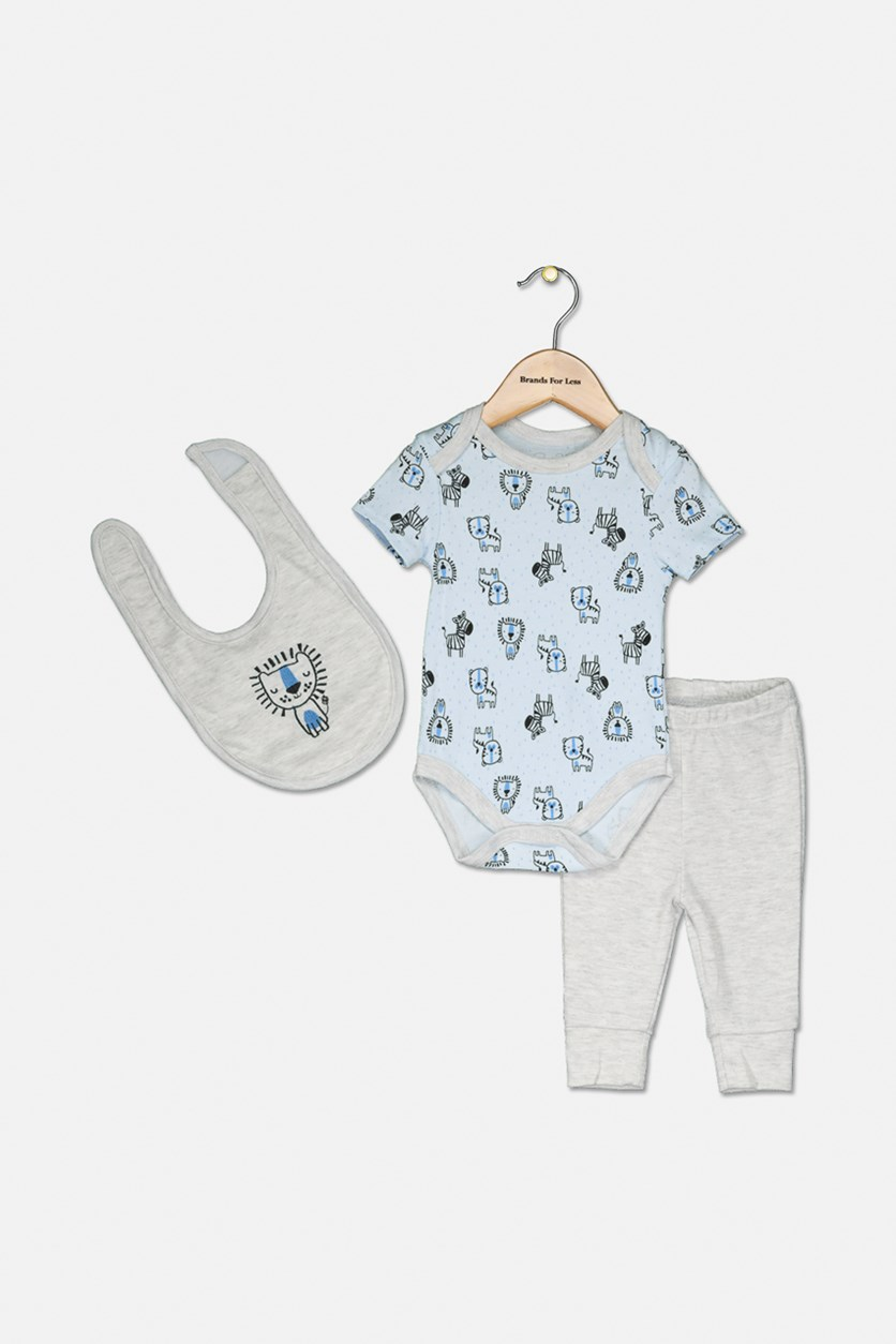 Toddler Girl's 3 Set Bib & Pants, Light Blue/Grey