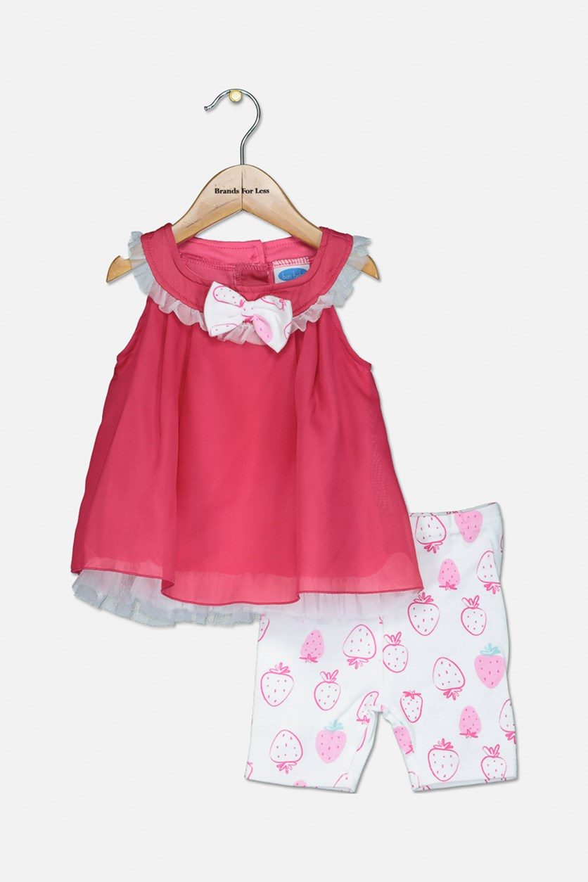 Baby's Chiffon Dress And Shorts Set, Fuschia Pink