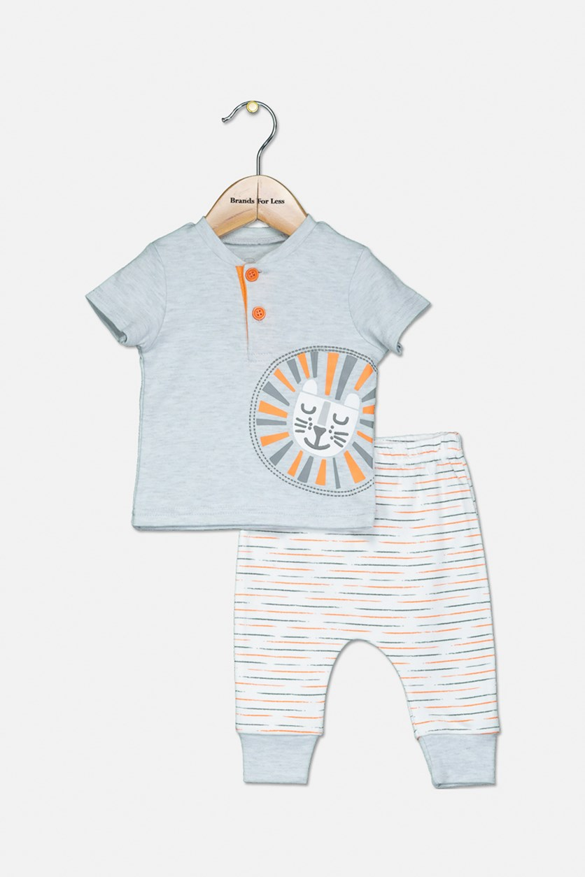 Toddler Boys Lion Tee & Pant Set, Light Grey/White