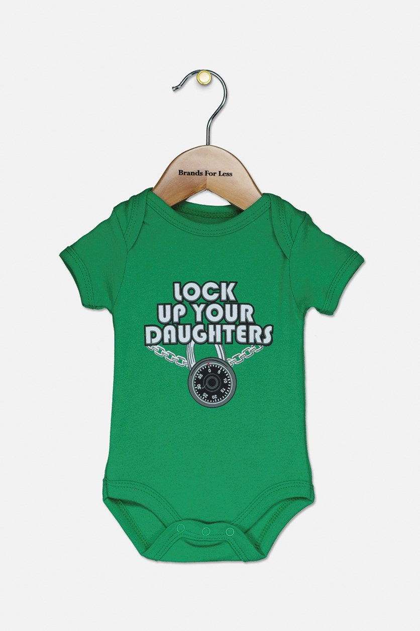 Toddler Girl's Lock Up Your Daughters Graphic Bodysuit, Green
