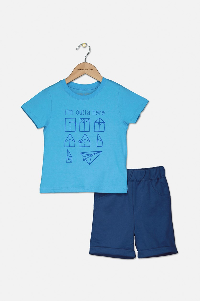 Little Boy's Graphic Printed Shirt With Short Set, Blue