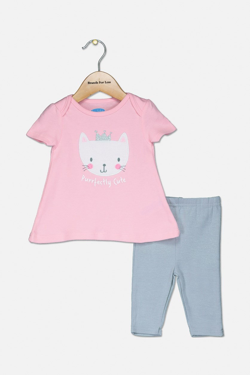Toddler's Purrperctly Cute Set, Pink/Grey