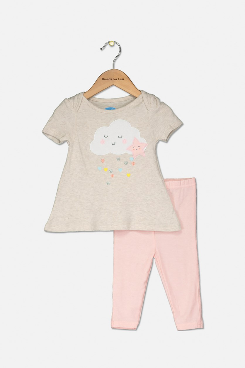 Toddler Girl's Graphic Top And Legging 2 Set, Pink/Beige