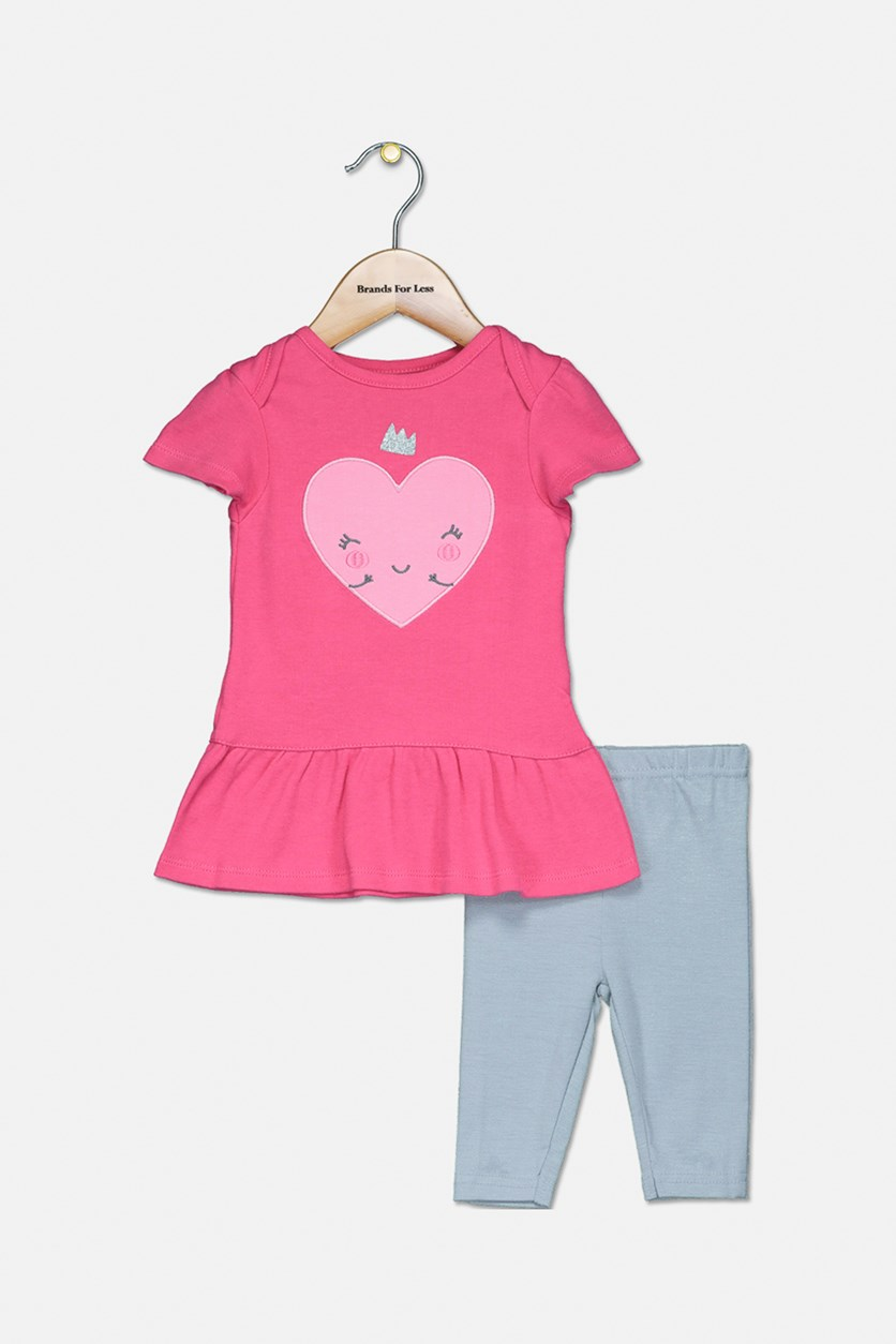 Baby Girl's Top And Pants Set, Pink/Silver