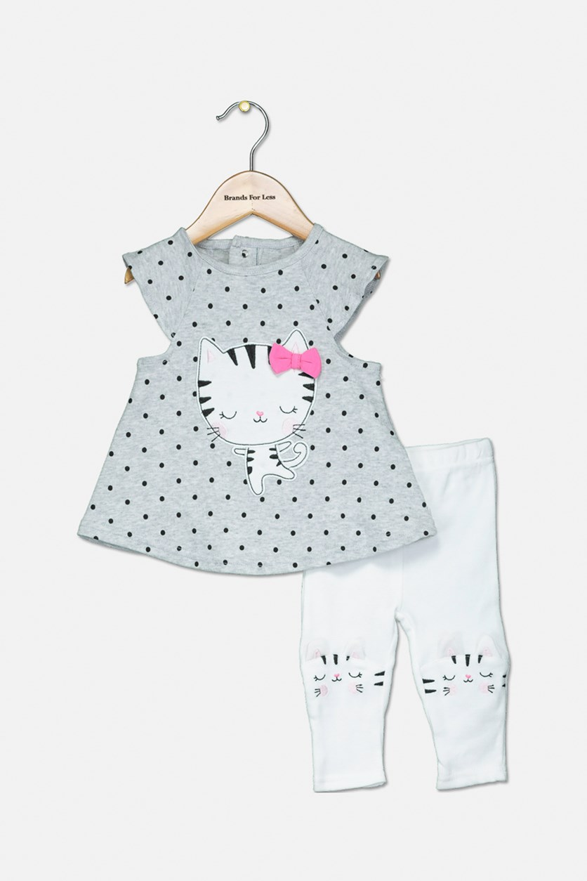 Toddler Girls Polka Dot Top & Pants Set, Grey/White