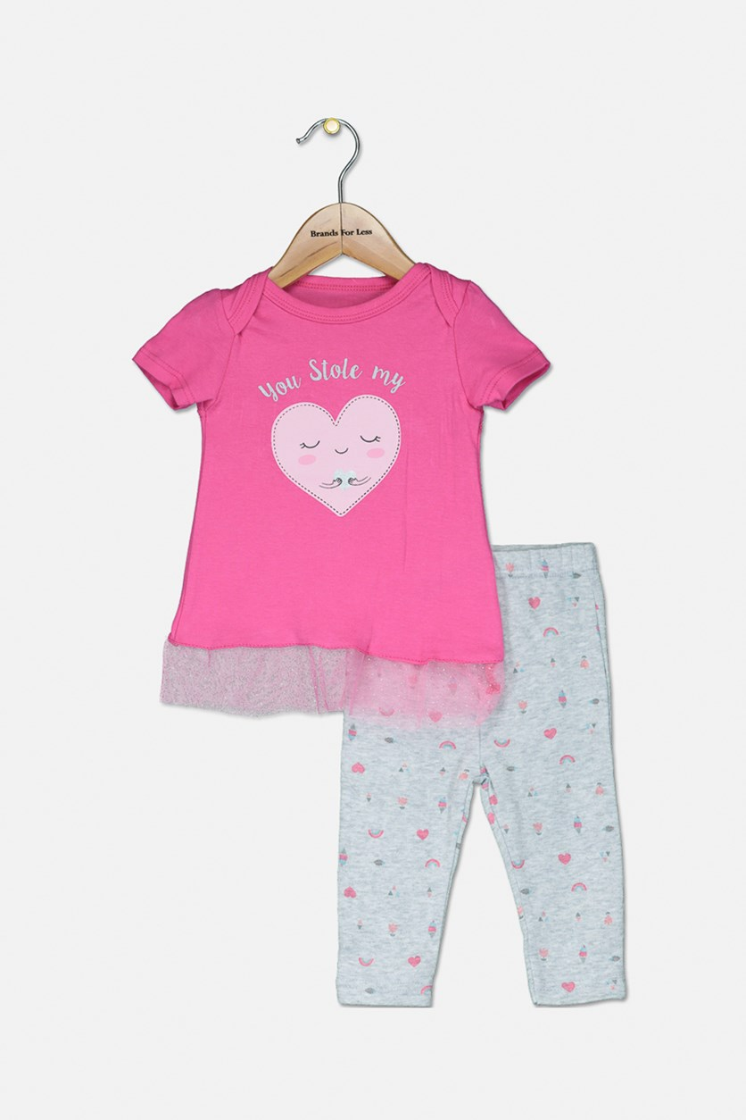 Toddler Girl's Top And Leggings Set, Pink/Grey