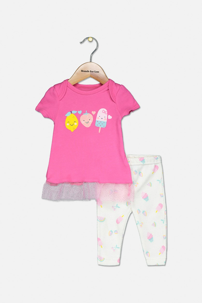 Toddler Girl's Graphic Top And Legging Set, Fuchsia/Ivory