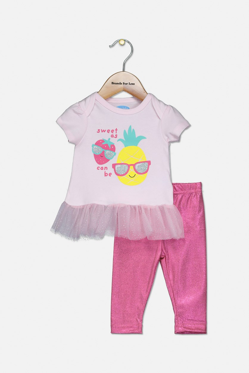 Toddler Girl's Graphic Top And Metallic Legging Set, Pink