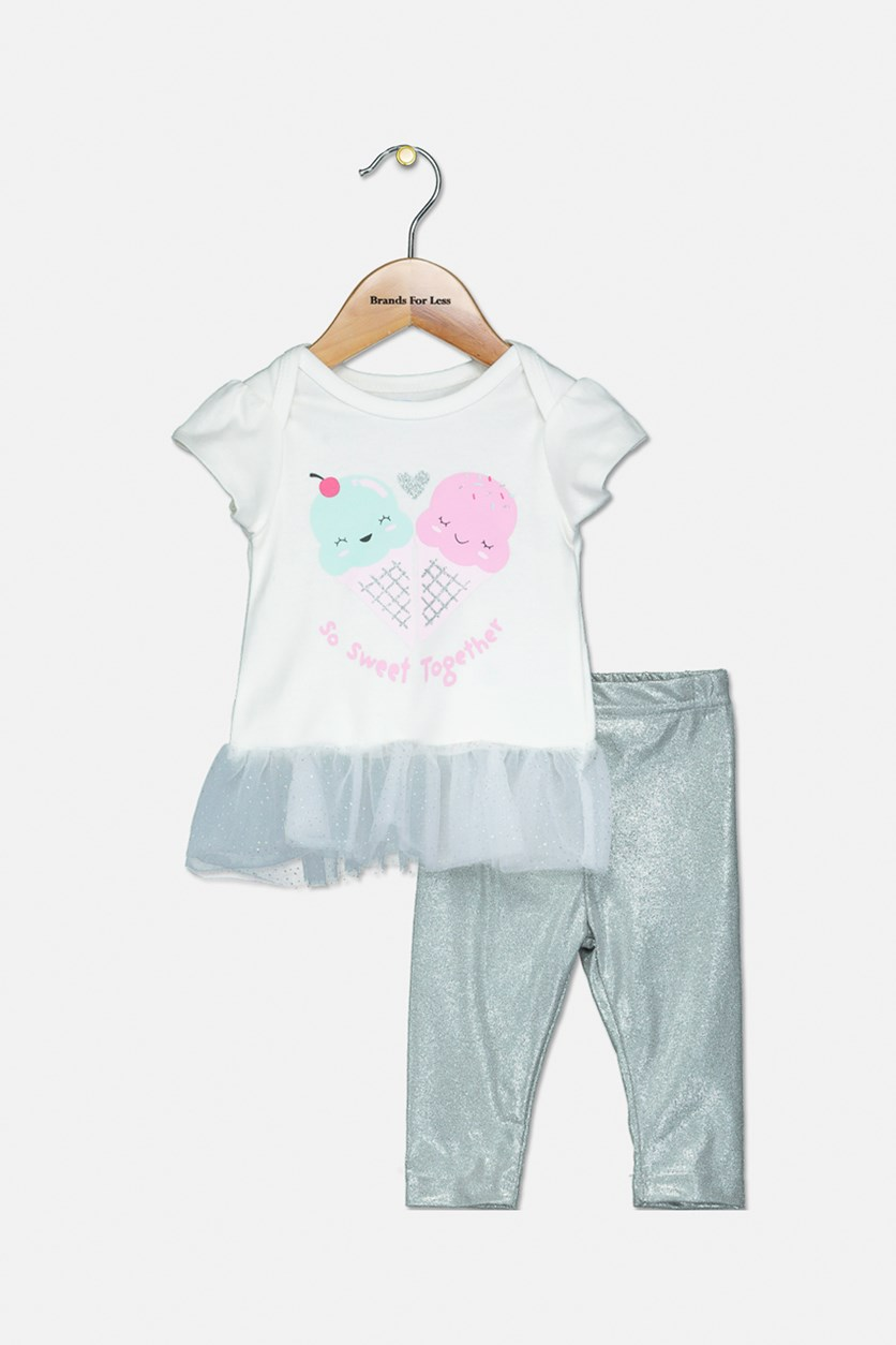 Toddler Girl's Top And Legging, White/Silver