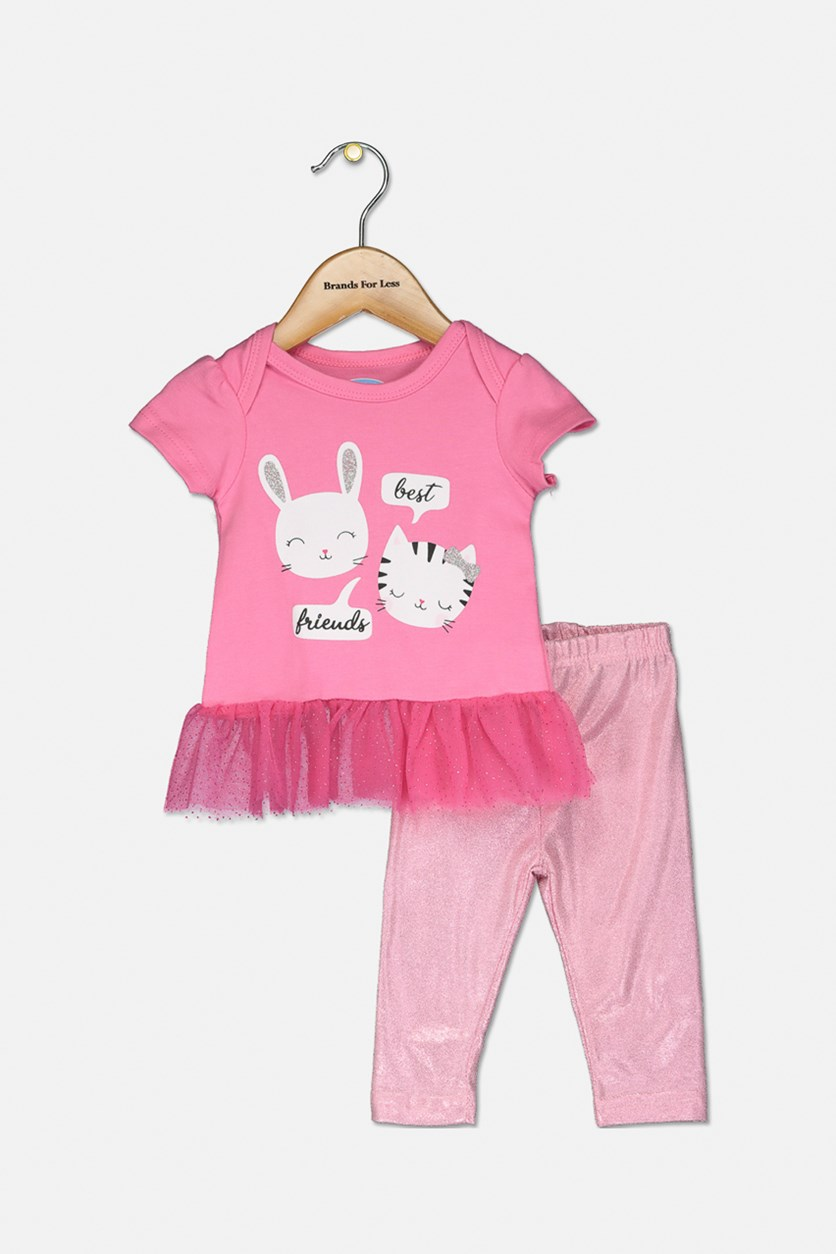 Toddler Girl's Best Friends Graphic Top 2 Set, Pink
