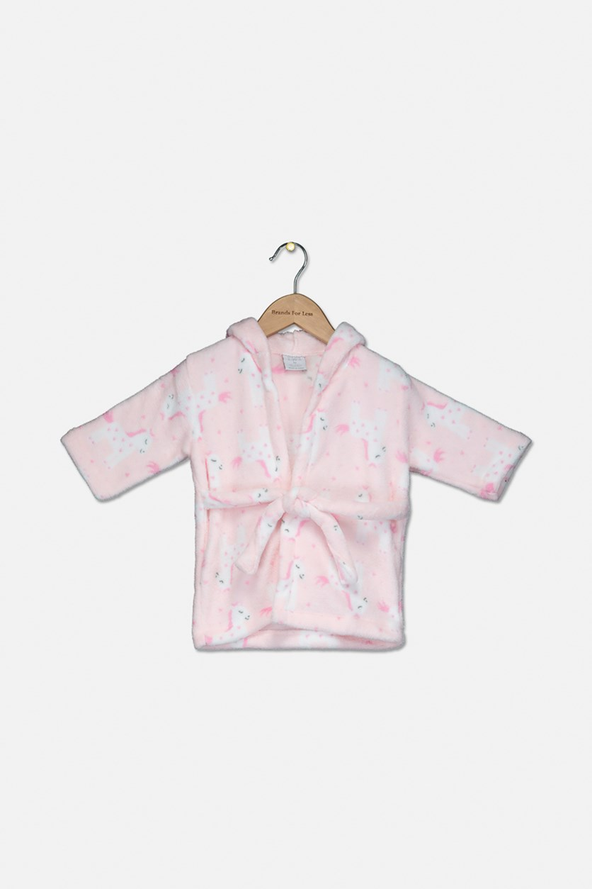 Baby Girl's Unicorn Printed Robes, Pink