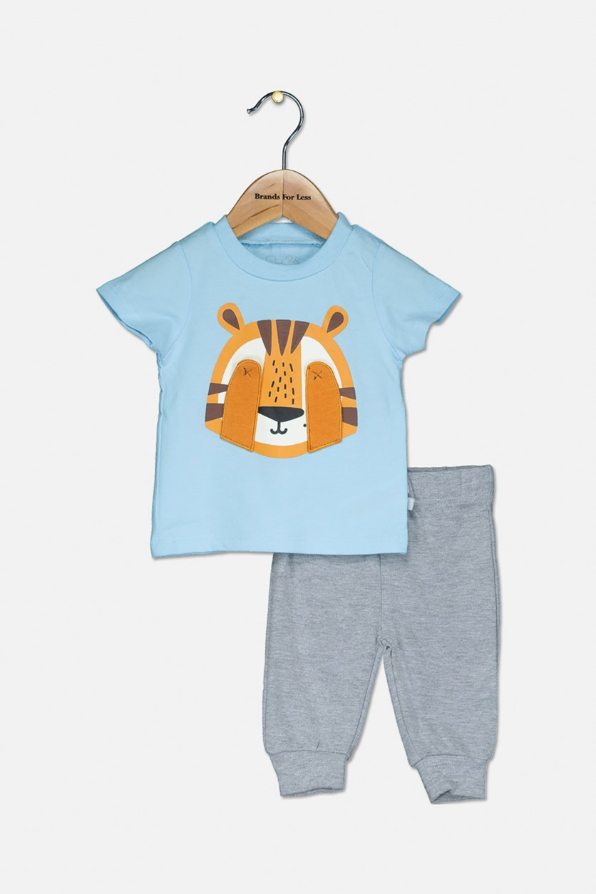 Toddler's Tiger Graphic Print 2-Pieces Set, Blue/Grey