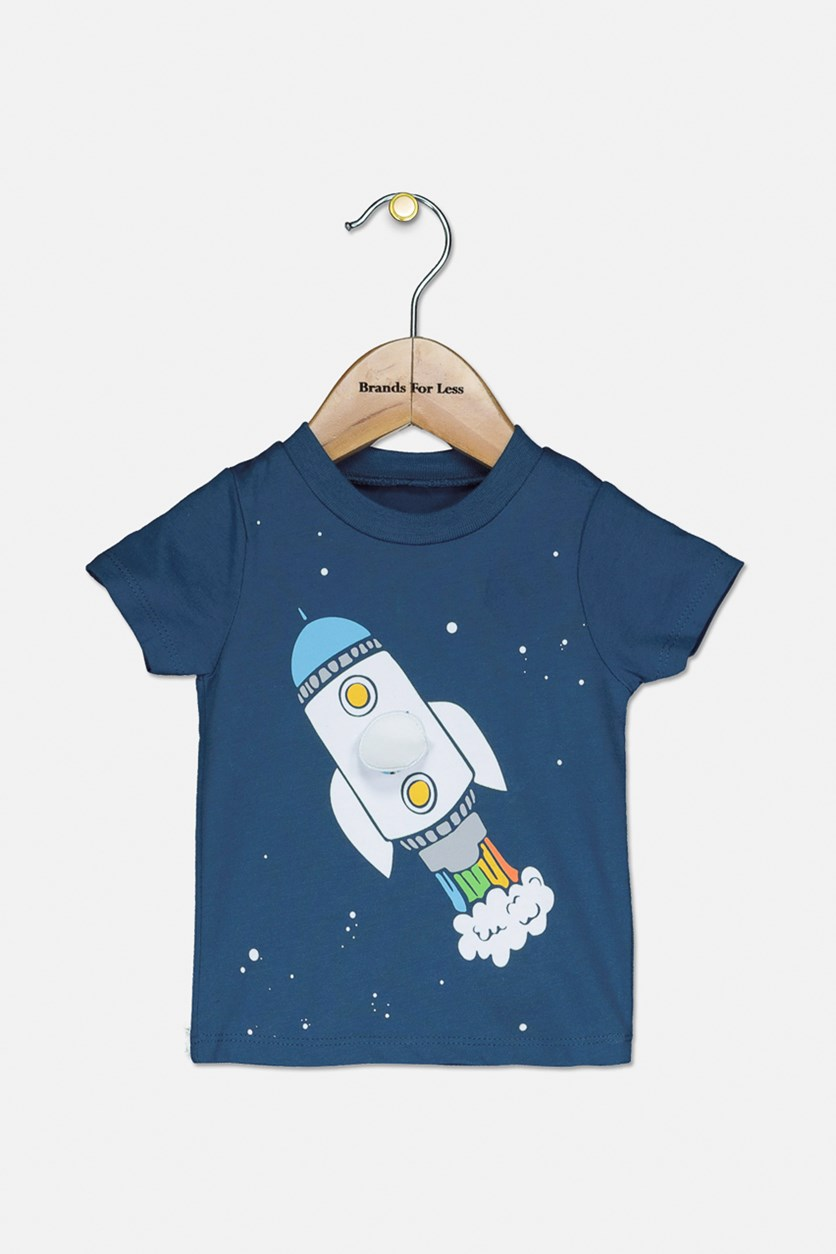 Toddler's Rocket Print 2-Pieces Set, Teal/Grey