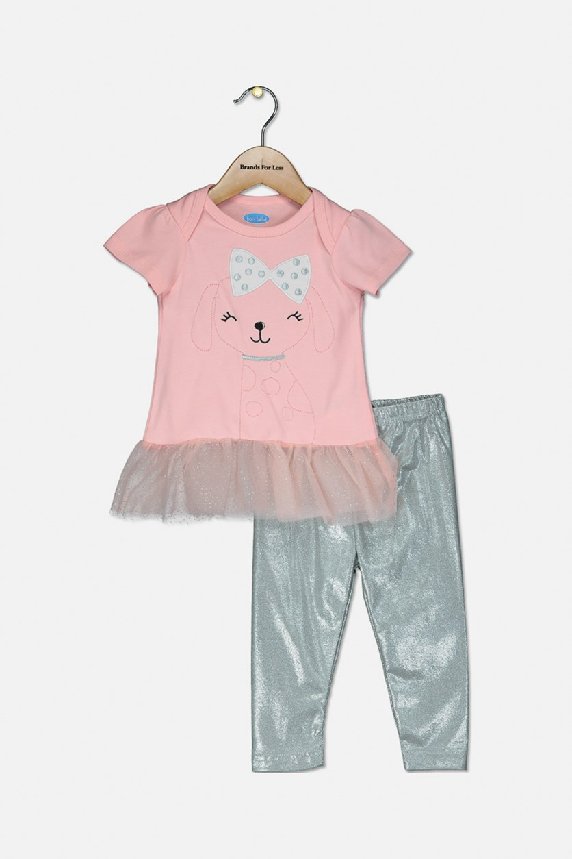 Toddler's Embroidered Dog 2-Pieces Set, Pink/Silver