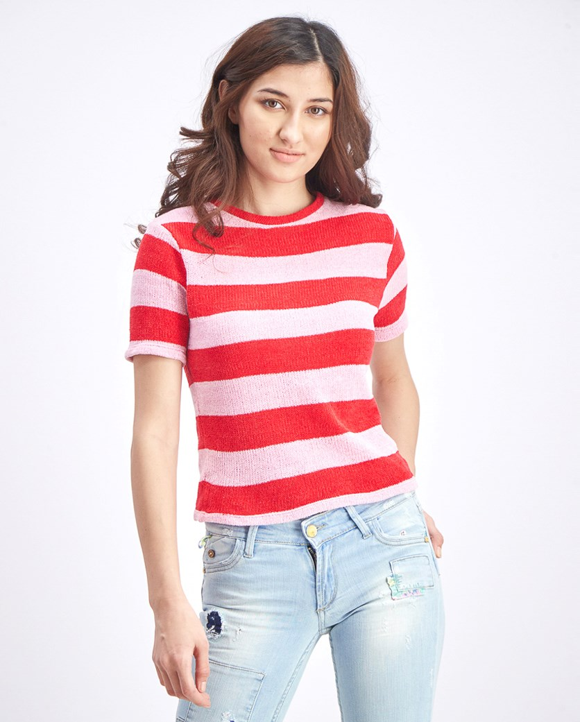 Women's Knit Stripe Top, Pink/Red