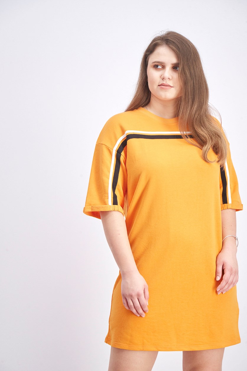 Women's Shirt Dress, Orange/Black