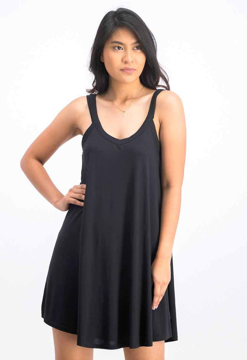 Women's Cross Shoulder Dress, Black