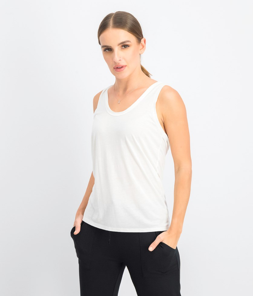 Women's Scoop Neckline Top, Vintage White