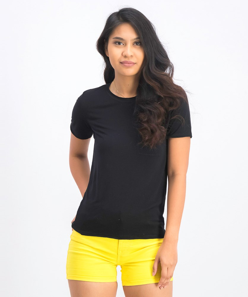 Women's Front Pocket Tee Top, Black